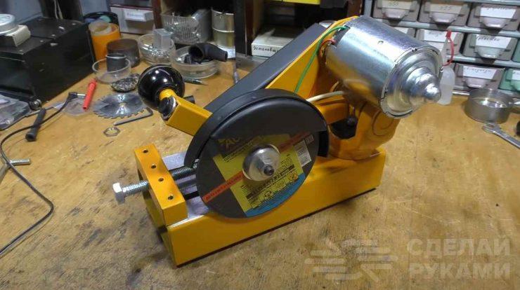 Как сделать мини отрезной станок с мотором на 200 Вт
