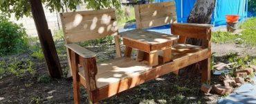 Скамья в стиле Адирондак со столиком из того, что было
