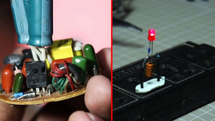 Как из энергосберегающей лампы сделать простую мигалку на 220В без транзисторов