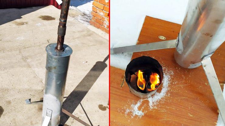 Простенькая печка на отработке для теплицы или палатки