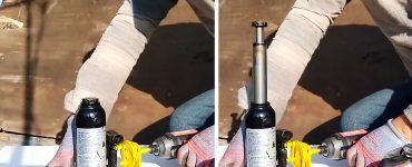 Как сделать привод для закачки гидравлического домкрата от шуруповерта